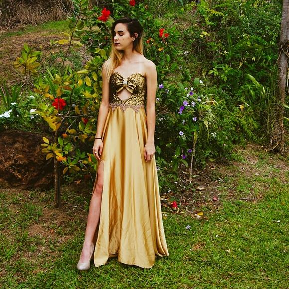 Ari Pilarte Dresses Womens Prom Night Dress Gold Poshmark